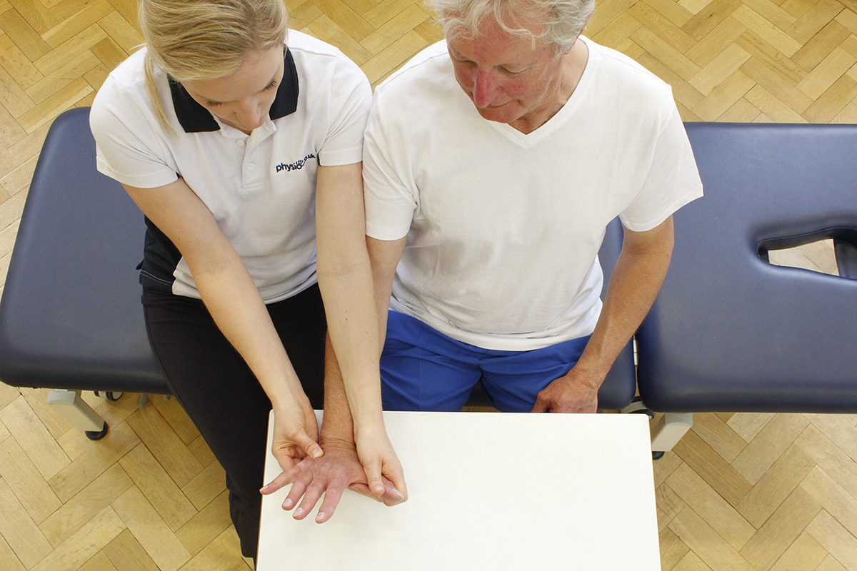 Hand therapy session in Manchester Physio Clinic